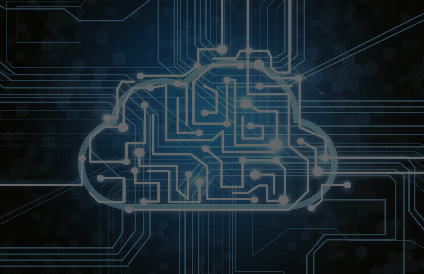 Circuitry over cloud icon