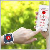 woman with smart watch and phone keeping track of heart rate