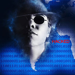 man in glasses above binary and hacked highlighted